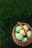 Καλάθι αυγών Πάσχας στο λιβάδι χλόης Στοκ Φωτογραφίες