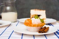 Καλάθι κέικ με τα φρούτα και την κρέμα Στοκ εικόνες με δικαίωμα ελεύθερης χρήσης