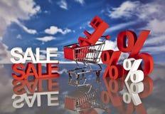 Καλάθι και πωλήσεις αγορών Στοκ Φωτογραφία