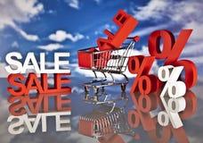 Καλάθι και πωλήσεις αγορών Στοκ φωτογραφία με δικαίωμα ελεύθερης χρήσης