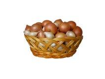 Καλάθι με τα άσπρα και καφετιά κρεμμύδια Στοκ Εικόνα