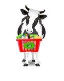 Καλάθι με τα γαλακτοκομικά προϊόντα και την αγελάδα Στοκ φωτογραφίες με δικαίωμα ελεύθερης χρήσης