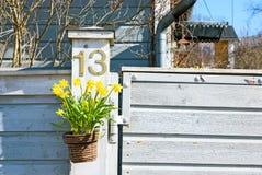 Καλάθι με τα κίτρινα λουλούδια Στοκ Εικόνες