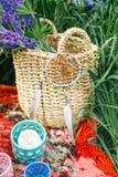 Καλάθι με τα λουλούδια και catcher ονείρου στο κόκκινο κάλυμμα Στοκ Φωτογραφίες