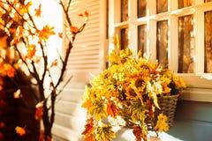Καλάθι με τα φύλλα ηλίανθων και φθινοπώρου στον μπλε τοίχο του coun στοκ εικόνα