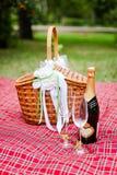Καλάθι με τις άσπρες διακοσμήσεις και τη σαμπάνια, κρασί Στοκ εικόνα με δικαίωμα ελεύθερης χρήσης