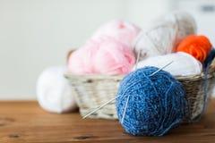 Καλάθι με το πλέξιμο των βελόνων και των σφαιρών του νήματος Στοκ εικόνα με δικαίωμα ελεύθερης χρήσης