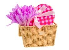 Καλάθι με το σαφράνι λιβαδιών και το κιβώτιο δώρων Στοκ εικόνα με δικαίωμα ελεύθερης χρήσης