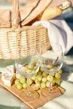 Καλάθι πικ-νίκ με τα γυαλιά κρασιού και τρόφιμα στην παραλία Στοκ εικόνες με δικαίωμα ελεύθερης χρήσης