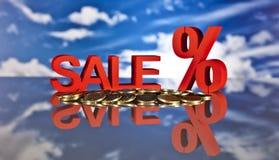 Καλάθι, πωλήσεις και χρήματα αγορών Στοκ Εικόνα