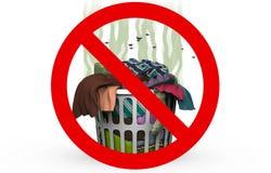 Καλάθι πλυντηρίων στο απαγορευμένο σημάδι, τρισδιάστατη απεικόνιση Στοκ εικόνα με δικαίωμα ελεύθερης χρήσης