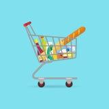 Καλάθι τροφίμων στις ρόδες που γεμίζουν με τα διαφορετικά προϊόντα Επίπεδο ύφος Στοκ φωτογραφία με δικαίωμα ελεύθερης χρήσης