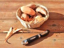 Καλάθι των γλυκών πατατών και peeler Στοκ Εικόνες