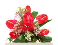 Καλάθι των κόκκινων anthurium λουλουδιών Στοκ Φωτογραφίες
