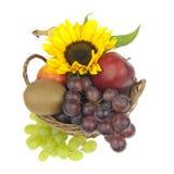 Καλάθι φρούτων περίκομψο με τον ηλίανθο Στοκ εικόνα με δικαίωμα ελεύθερης χρήσης
