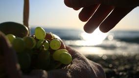 Καλάθι φρούτων στην παραλία Το χέρι παίρνει τα σταφύλια από τη δέσμη των σταφυλιών στα πλαίσια των κυμάτων θάλασσας απόθεμα βίντεο