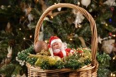 Καλάθι Χριστουγέννων κάτω από το δέντρο Στοκ εικόνα με δικαίωμα ελεύθερης χρήσης