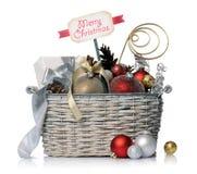 Καλάθι Χριστουγέννων Στοκ Φωτογραφία