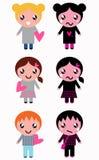 Καλά και κακά παιδιά με τις καρδιές Στοκ εικόνα με δικαίωμα ελεύθερης χρήσης
