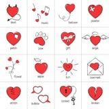 καλά κόκκινα χαμόγελα εικονιδίων καρδιών προσώπων Στοκ Εικόνα