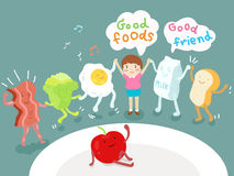 Καλά τρόφιμα και καλή διανυσματική απεικόνιση φίλων απεικόνιση αποθεμάτων