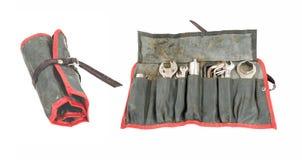 Καλά χρησιμοποιημένος παλαιός ρόλος εργαλείων μοτοσικλετών με τα εργαλεία (δύο απόψεις) Στοκ Φωτογραφία