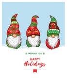 Καλές διακοπές κάρτα με τα στοιχειά Χριστουγέννων στο κόκκινο, πράσινο καπέλο Στοκ Εικόνες