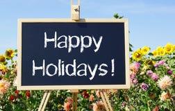 Καλές διακοπές - πίνακας κιμωλίας στο θερινό κήπο Στοκ Εικόνες