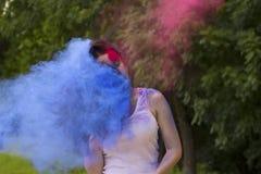 Καλή γυναίκα brunette με την τρίχα στην κίνηση και το ξηρό χρώμα Στοκ Εικόνες