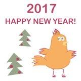 καλή χρονιά Δέντρο κοκκόρων και έλατου απεικόνιση αποθεμάτων