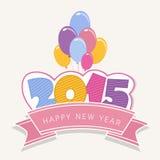 Καλή χρονιά 2015 εορτασμοί με τα ζωηρόχρωμα μπαλόνια απεικόνιση αποθεμάτων