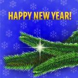 Καλή χρονιά! ευχετήρια κάρτα στο μπλε υπόβαθρο Στοκ Φωτογραφία