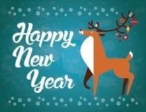 Καλή χρονιά! Ελάφια με τα παιχνίδια Χριστουγέννων στα κέρατα invitation new year Στοκ φωτογραφίες με δικαίωμα ελεύθερης χρήσης