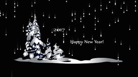 Καλή χρονιά 2017, ζωτικότητα η εμφάνιση των μορίων καλή χρονιά απόθεμα βίντεο