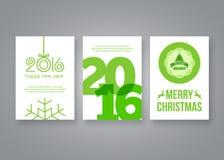 Καλή χρονιά 2016 και διανυσματικό πράσινο σύγχρονο πρότυπο σχεδίου φυλλάδιων Χαρούμενα Χριστούγεννας με τους αριθμούς Σύνολο κάρτ Στοκ Εικόνες