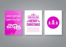 Καλή χρονιά 2016 και διανυσματικό ρόδινο σύγχρονο πρότυπο σχεδίου φυλλάδιων Χαρούμενα Χριστούγεννας με τους αριθμούς Σύνολο κάρτα Στοκ φωτογραφία με δικαίωμα ελεύθερης χρήσης