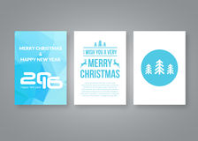 Καλή χρονιά 2016 και διανυσματικό σύγχρονο πρότυπο σχεδίου φυλλάδιων Χαρούμενα Χριστούγεννας με τους αριθμούς Σύνολο κόκκινης κάρ Στοκ φωτογραφίες με δικαίωμα ελεύθερης χρήσης