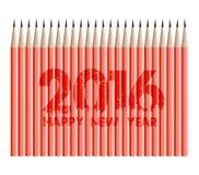 Καλή χρονιά 2016 με το υπόβαθρο μολυβιών Στοκ Εικόνα