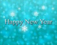 Καλή χρονιά στο τυρκουάζ υπόβαθρο bokeh Στοκ φωτογραφία με δικαίωμα ελεύθερης χρήσης