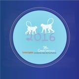 Καλή χρονιά 2016 Χαιρετισμός καλής χρονιάς με τον πίθηκο και ναρκωμένος Στοκ Φωτογραφίες