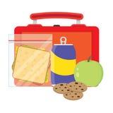 Καλαθάκι με φαγητό με το σχολικό μεσημεριανό γεύμα διανυσματική απεικόνιση