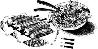 Καλαμπόκι και σαλάτα ελεύθερη απεικόνιση δικαιώματος