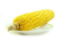 Καλαμπόκι στο άσπρο πιάτο Στοκ Εικόνες