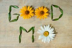 Καλημέρα επιγραφής, που σχεδιάζεται από τα wildflowers σε ένα ξύλινο υπόβαθρο Στοκ φωτογραφίες με δικαίωμα ελεύθερης χρήσης