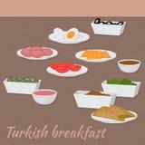Καλημέρα με τα τουρκικά παραδοσιακά τρόφιμα προγευμάτων της τουρκικής κουζίνας ελεύθερη απεικόνιση δικαιώματος