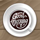 Καλημέρα με το σχέδιο ύφους εγγραφής καφέ ελεύθερη απεικόνιση δικαιώματος