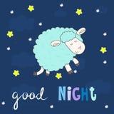καληνύχτα καρτών Χαριτωμένα συρμένα χέρι πρόβατα στο ύφος κινούμενων σχεδίων Διανυσματική τυπωμένη ύλη Στοκ φωτογραφίες με δικαίωμα ελεύθερης χρήσης