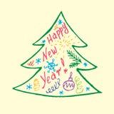Καλλιγραφία και οι λέξεις στις διακοπές Χριστουγέννων, Doodles, Στοκ Φωτογραφία