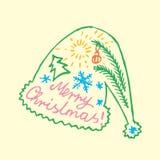 Καλλιγραφία και οι λέξεις στις διακοπές Χριστουγέννων, Doodles, Στοκ Εικόνες