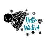Καλλιγραφία υποβάθρου χαιρετισμού εμβλημάτων χειμερινών κειμένων γειά σου Στοκ φωτογραφία με δικαίωμα ελεύθερης χρήσης